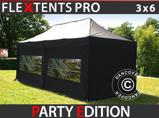 Pop up gazebo FleXtents PRO 3x6m Black, incl. 6 sidewalls