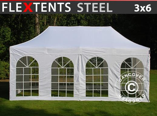 Visitor tent FleXtents Steel 3x6 m White, incl. 4 sidewalls and 1 transparent partition wall