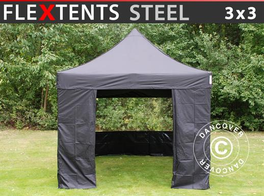 Vouwtent/Easy up tent FleXtents Steel 3x3m Zwart, inkl. 4 zijwanden