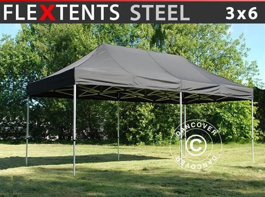 Pop up gazebo FleXtents Steel 3x6 m Black