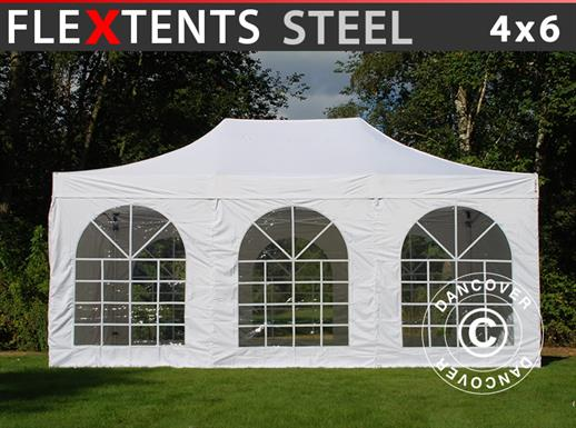 Vouwtent/Easy up tent FleXtents Steel 4x6m Wit, inkl. 4 Zijwanden