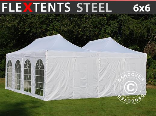 Vouwtent FleXtents Steel 6x6m Wit, incl. 8 zijwanden