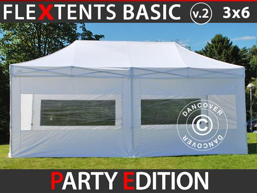 Vouwtent/Easy up tent FleXtents Basic v.2, 3x6m Wit, inkl. 6 Zijwanden