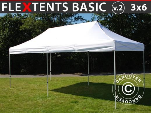 Vouwtent/Easy up tent FleXtents Basic v.2, 3x6m Wit