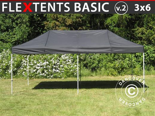 Vouwtent/Easy up tent FleXtents Basic v.2, 3x6m Zwart