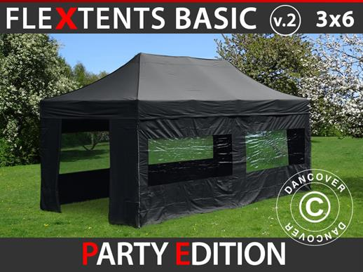 Vouwtent/Easy up tent FleXtents Basic v.2, 3x6m Zwart, inkl. 6 Zijwanden