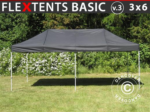 Vouwtent/Easy up tent FleXtents Basic v.3, 3x6m Zwart