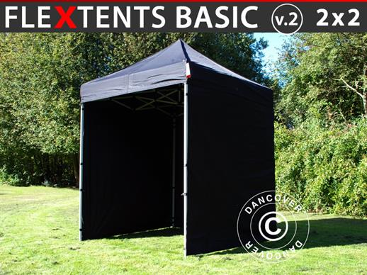 Foldetelt FleXtents Basic v.2, 2x2m Sort, inkl. 4 sider