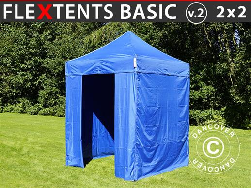 Pop up gazebo FleXtents Basic v.2, 2x2 m Blue, incl. 4 sidewalls