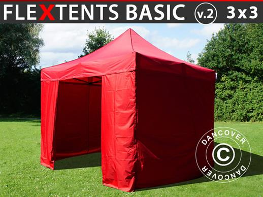 Pop up gazebo FleXtents Basic v.2, 3x3 m Red, incl. 4 sidewalls