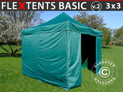Pop up gazebo FleXtents Basic v.2, 3x3 m Green, incl. 4 sidewalls
