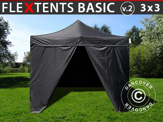Pop up gazebo FleXtents Basic v.2, 3x3 m Black, incl. 4 sidewalls