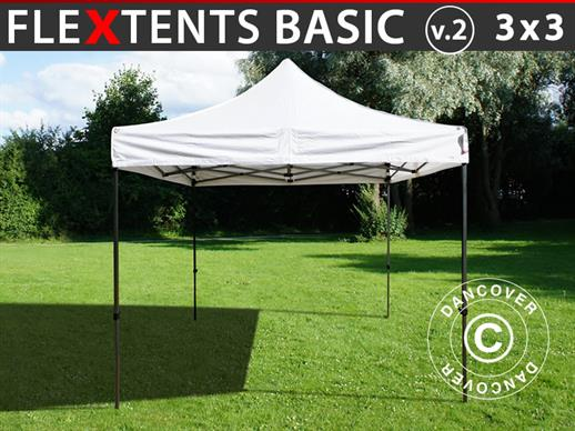 Faltzelt FleXtents Basic v.2, 3x3m Weiß