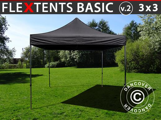 Foldetelt FleXtents Basic v.2, 3x3m Sort