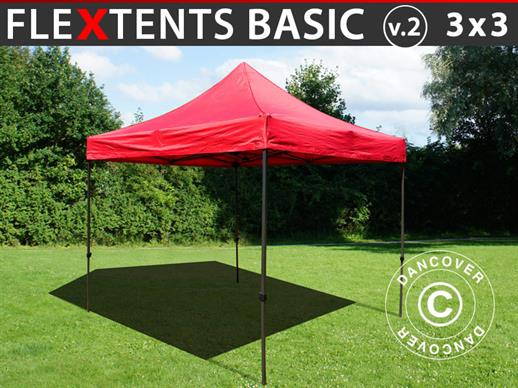 Tente pliante FleXtents Basic v.2, 3x3m Rouge