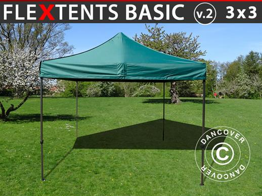 Pop up gazebo FleXtents Basic v.2, 3x3 m Green