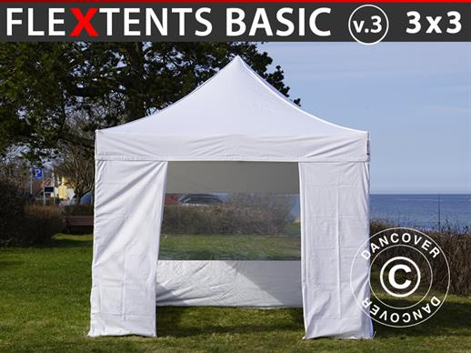 Vouwtent/Easy up tent FleXtents Basic v.3, 3x3m Wit, inkl. 4 Zijwanden