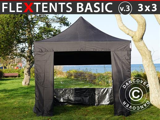 Tenda Dobrável FleXtents Basic v.3, 3x3m Preto, incl. 4 paredes laterais