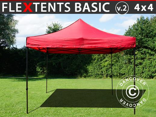 Vouwtent/Easy up tent FleXtents Basic v.2, 4x4m Rood