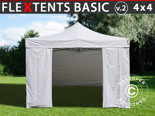 Vouwtent/Easy up tent FleXtents Basic v.2, 4x4m Wit, inkl. 4 Zijwanden