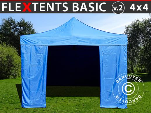Pop up gazebo FleXtents Basic v.2, 4x4 m Blue, incl. 4 sidewalls