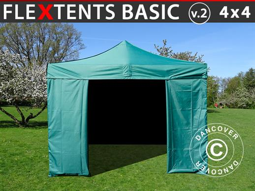 Pop up gazebo FleXtents Basic v.2, 4x4 m Green, incl. 4 sidewalls