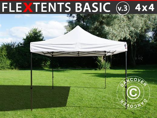 Pop up gazebo FleXtents Basic v.3, 4x4 m White