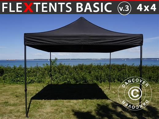 Quick-up telt FleXtents Basic v.3, 4x4m Svart