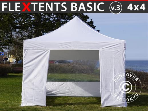 Tenda Dobrável FleXtents Basic v.3, 4x4m Branco, incl. 4 paredes laterais