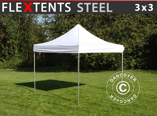 Pop up gazebo FleXtents Steel 3x3 m White
