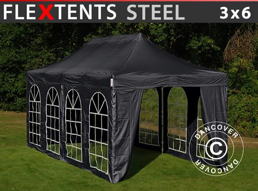 Gazebo pieghevole FleXtents Steel 3x6m Nero, incl. 4 fianchi