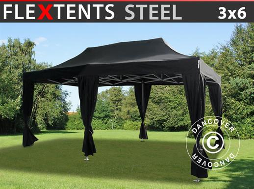 Carpa plegable FleXtents Steel 3x6m Negro, incluye 6 cortinas decorativas