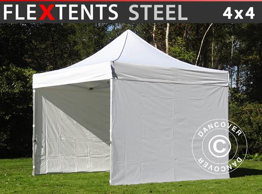 Tenda Dobrável FleXtents Steel 4x4m Branco, incl. 4 paredes laterais