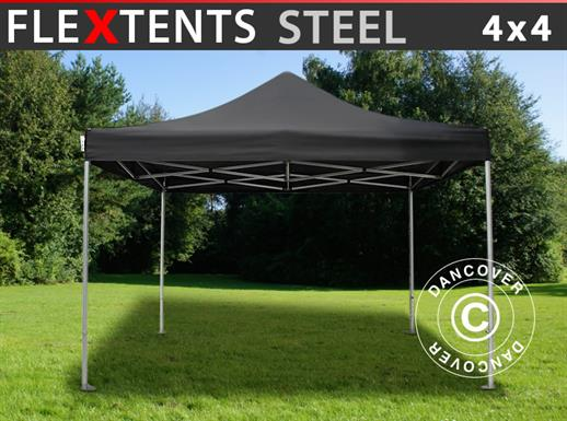 Pop up gazebo FleXtents Steel 4x4 m Black