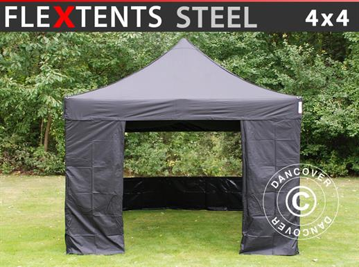 Foldetelt FleXtents Steel 4x4m Sort, inkl. 4 sider