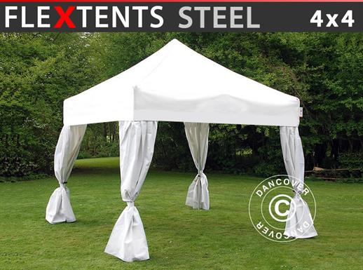 Pop up gazebo FleXtents Steel 4x4 m White, incl. 4 decorative curtains