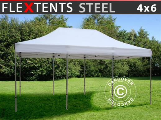 Faltzelt FleXtents Steel 4x6m Weiß
