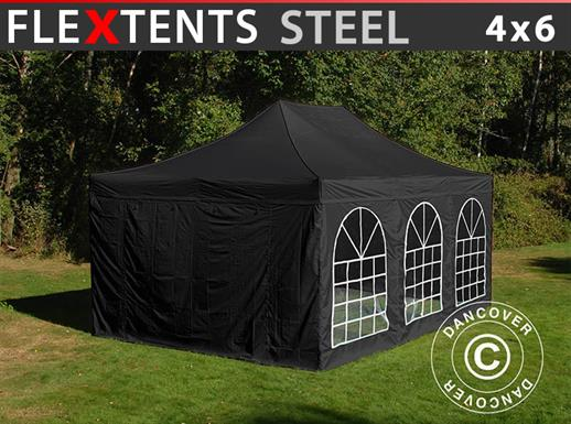 Carpa plegable FleXtents Steel 4x6m Negro, incl. 4 lados
