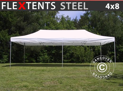 Faltzelt FleXtents Steel 4x8m Weiß