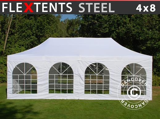 Vouwtent/Easy up tent FleXtents Steel 4x8m Wit, inkl. 4 Zijwanden
