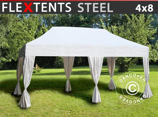 Pop up gazebo FleXtents Steel 4x8 m White, incl. 10 decorative curtains