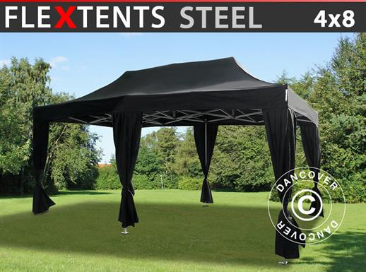 Pop up gazebo FleXtents Steel 4x8 m Black, incl. 10 decorative curtains