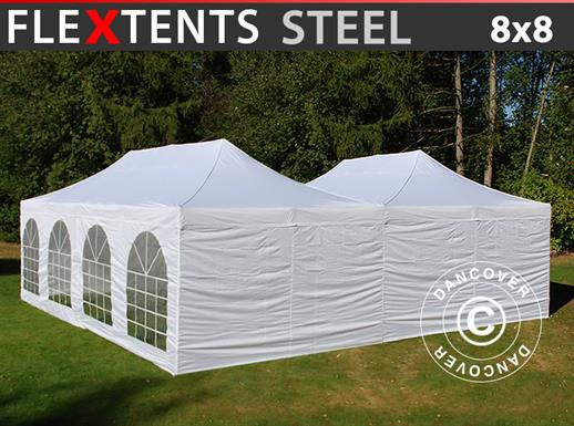 Quick-up telt FleXtents Steel 8x8m Hvit, inkl. 8 sidevegger