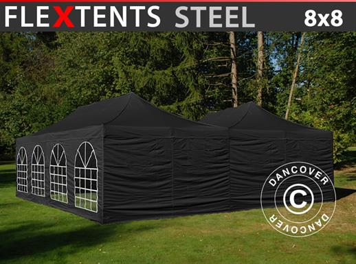 Pop up gazebo FleXtents Steel 8x8 m Black, incl. 8 sidewalls