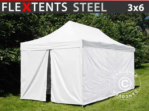 Pop up gazebo FleXtents® Steel, Medical & Emergency tent, 3x6 m, White, incl. 6 sidewalls