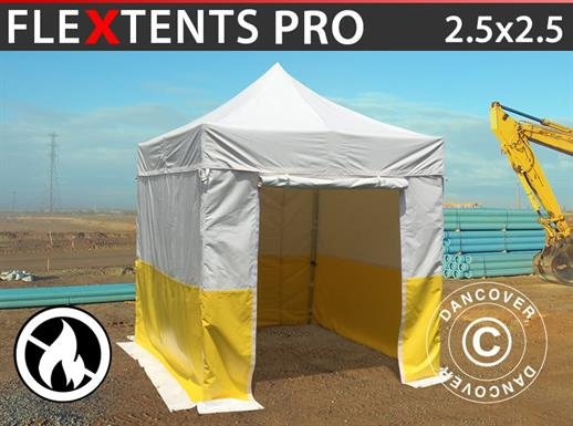 Pop up gazebo FleXtents® PRO 2.5x2.5 m, PVC, Work tent, Flame retardant, incl. 4 sidewalls