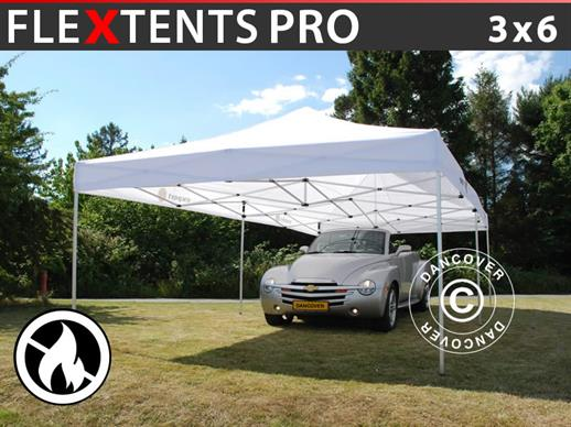 Pop up gazebo FleXtents PRO 3x6 m White, Flame retardant