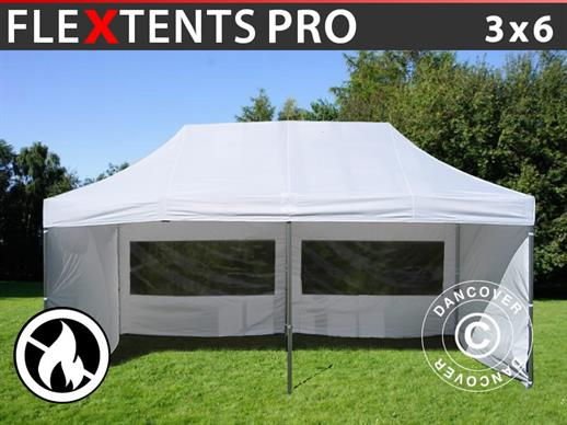 Pop up gazebo FleXtents PRO 3x6 m White, Flame retardant, incl. 6 sidewalls