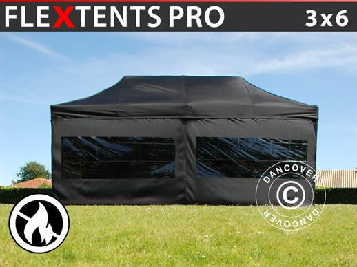 Vouwtent/Easy up tent FleXtents PRO 3x6m Zwart, Vlamvertragende, inkl. 6 Zijwanden