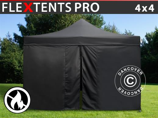 Pop up gazebo FleXtents PRO 4x4 m Black, Flame retardant, incl. 4 sidewalls
